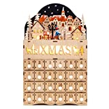 Best Choice Products Wooden Christmas Village Advent Calendar Holiday Decoration w/Battery-Operated LED Light Background