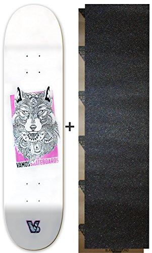 Vamos Skateboards   Skateboard Deck   Wolf Design   100% Canadian Hardrock Maple   met griptape   diverse maten