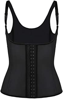 Ladies Latex Waist Training Suit Corset Black Back 3 Rows Of Hooks 9 Steel Bone Corset Vest Belly Control Steel Bone Trimmer Can Be Used For Postpartum Recovery Slimming Weight Loss Exercise Wait