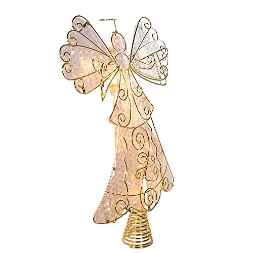 Kurt Adler UL 10-Light Metal Reflector Angel Christmas Treetop Figurine, 10-Inch