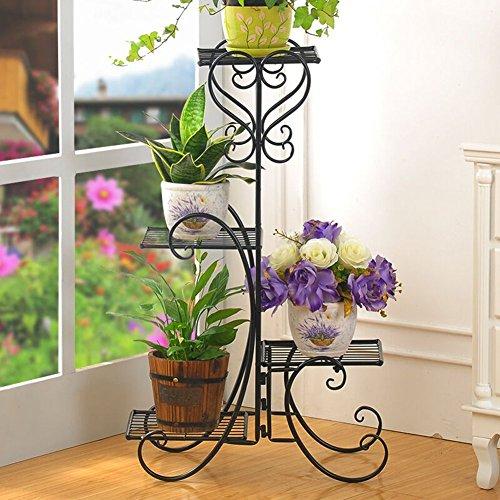 Edge to Porte-Fleurs 4 Couches Type de Plancher Fleur de Fer Balcon Porte-Pot Ensemble de Fleurs Vertes Chlorophytum Salon de Salon Simple en Fleurs (Couleur : Noir)