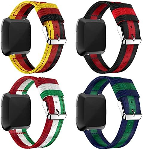 Classicase Correa de Reloj de NATO Nailon Compatible con Fitbit Versa 2 / Versa 2 SE/Versa Lite/Versa smartwatch, Mujer y Hombre, Hebilla de Acero Inoxidable (4-Pack G)