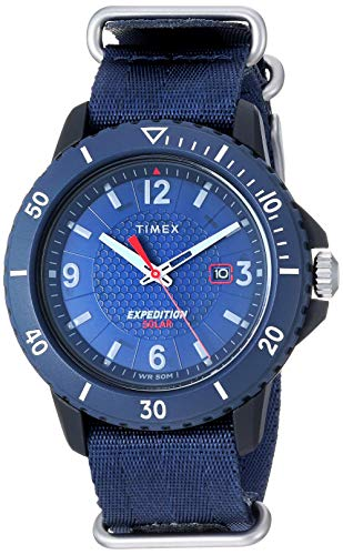 Timex Men's TW4B14300 Expedition Gallatin Solar Blue Nylon Slip-Thru Strap Watch
