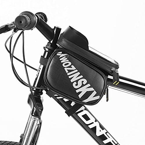 WOZINSKY Bolsa para bicicleta con funda para el móvil, soporte para teléfono móvil, impermeable, para smartphone