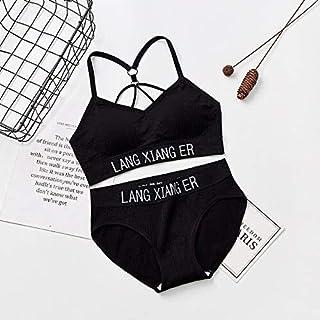 OneChange Cotton Training Sports Bra Underwear Solid Color Letters Printed Scoop Neckline Teenage Adolescent Girl Wireless...