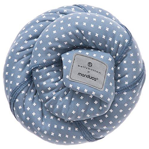 manduca Sling > Elastisches Babytragetuch mit GOTS Zertifikat < für Neugeborene ab Geburt (WildCrosses blue, 5,10m x 0,60m)