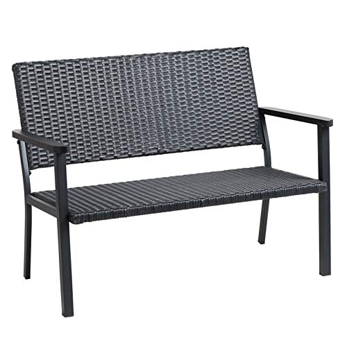 C-Hopetree Outdoor Loveseat Chair for Outside Patio Porch, Metal Frame, Black All Weather Wicker