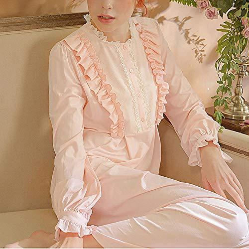 STJDM Pyjama,Damen Prinzessin Kleid Palace Style Schlafshirts Vintage Stringy Selvedge Nachthemden Victorian Cotton Nightdress Sleep Loungewear L Pink