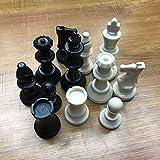 SGSG Ajedrez 1 Juego Piezas de ajedrez Medievales Piezas de ajedrez de plástico Palabra Internacional Entretenimiento de ajedrez Blanco y Negro 65 MM