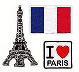 Paris Frankreich Aufnäher Set 3 Stück Bügelbilder Applikation