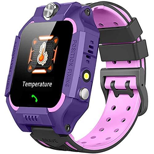 ZXQZ Relojes de Pulsera Pulsera Inteligente, Relojes Inteligentes Anti Perdidos para Niños, Rastreador GPRS con Función de Linterna, para Android iOS Watches (Color : Purple)