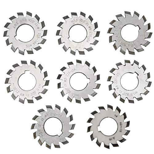 8 Teiliges Zahnradfräser Hochgeschwindigkeits Stahlschneidwerkzeug Industriematerial M1.5 Druckwinkel 20 ° Länge 5 mm Durchmesser 6 mm für Fräsmaschine
