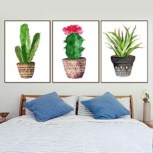 KELEQI Cartel de Acuarela nórdico Impresión de Arte Plantas Verdes suculentas Lienzo Pinturas de Pared de Cactus para Sala de Estar Decoración Moderna para el hogar (70x90cm) X3 Sin Marco