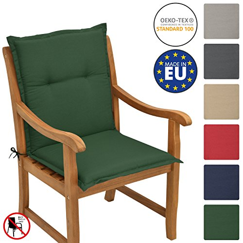Beautissu Loft NL - Cojín para sillas de balcón o Asiento Exterior con Respaldo Bajo - 100x50x6 cm - Placas compactas de gomaespuma - Verde Oscuro