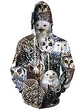 Idgreatim Hombres Mujer Realista Animal Wolf Cremallera Capucha Camisa de Entrenamiento Guay...