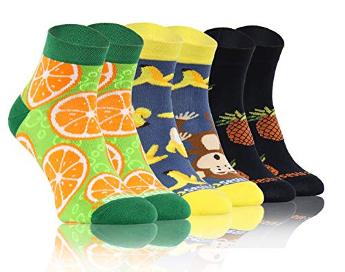Sesto Senso Lustige Bunte Kurze Socken 3 Pack Süße Sneakersocken Baumwolle Banane Ananas Orange Apfelsine tropische Obst 43-46 3 Früchte