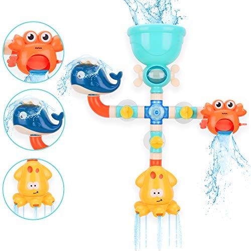 BBLIKE Badespielzeug Set, Spielzeug Badewanne Wasserspiel für Kinder Wasserspielzeug DIY Manuelle Montage Pipes, Kinder BPA Frei, Badewannenspielzeug für Kinder ab 18 Monate , Geschenke für Babys