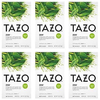 Tazo Zen Green Tea Bags for an invigorating cup of green tea Zen Tea helps you feel focused and zen 20 count pack of 6