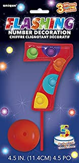Flashing Multicolor Number 7 Cake Topper Decoration