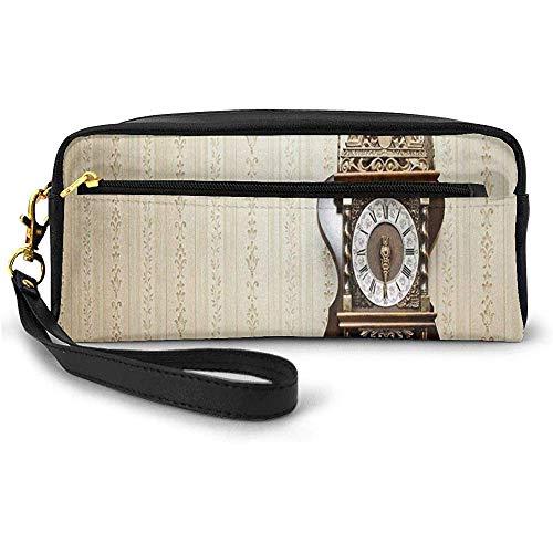 Un Reloj de Talla de Madera de Estilo Antiguo con números Romanos Que cuelga en la Pared Diseño Pequeño Bolso de Maquillaje Estuche de lápices 20cm * 5.5cm * 8.5cm