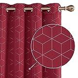 Deconovo Lot de 2 Rideau Occultant Isolants Thermiques Rideaux pour Porte d'Entrée Balcon Intérieur à Oeillet Motif Geometique Imprimés Argents 140x180cm Rouge