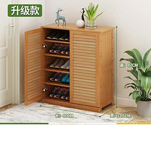 QYN Bambú Simple Zapatero,Multi-Almacenamiento De Capas Ajustable Gabinete del Zapato Madera Sólida A Prueba De Polvo Zapatero Caja-d 80x33x87cm(31x13x34inch)