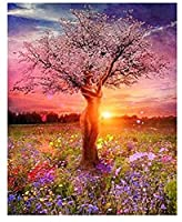 デジタル絵画日没美しい樹形図 DIY デジタルデジタル絵画現代壁アートキャンバス絵画ユニークなギフト家の装飾 40 × 50 センチメートル