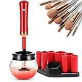 Makeup Brush Cleaner Dryer, Super-Fast Electric Brush Spinner Machine with 8 Rubber Collars, Wash and Dry in Seconds, Automatic Deep Brush Cleaner for Most Makeup Brushes Beige