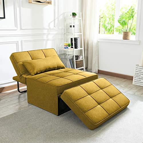 Vonanda Sofa Bed, Convertible Chair 4 in 1 Multi-Function Folding Ottoman Modern Breathable Linen Guest Bed with Adjustable Sleeper for Small Room Apartment,Mustard Yellow