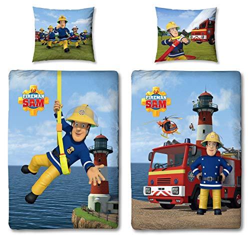 Character World Wende Bettwäsche-Set Feuerwehrmann Sam, 100 x 135 cm 60 x 40 cm, 100% Baumwolle, Linon 2 Motive auf Einer Bettwäsche Reißverschluss
