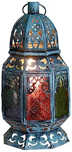 FHUA Lámpara Escritorio Lámpara de Mesa de Color de Vidrio, lámpara de Mesa de Dormitorio de Vidrio Retro Creativa (Ancho 180 mm, Altura 360 mm, Boca de Tornillo)