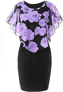 GDJGTA Dress for Womens Lace Ruffles Casual Plus Size Rose Print Chiffon O-Neck Mini Dress