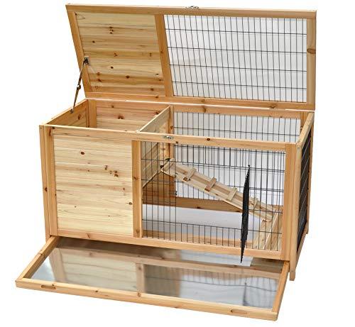 nanook Hamsterkäfig Meerschweinchenkäfig - Natur - 100 x 50 x 62 cm - verschließbar - mit Dach- und Frontöffnung - 2 Etagen - große Nagerhöhle