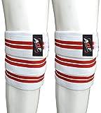 AQF Ginocchiere per Sollevamento Pesi Bendaggio Altamente Resistenti Elasticizzate Cinghie di Mantenimento Protezione Powerlifting, Squatting (Bianco e Rosso)