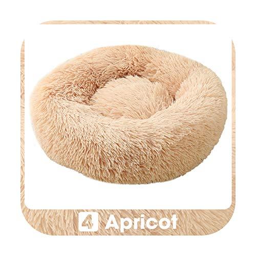 KASHINO Cama redonda para gatos Panier Pour Chien súper suave y larga de felpa, cama para perro, cama para invierno, cálida y profunda, cojín para cachorro, albaricoque, XXL, 100 cm