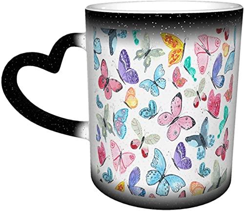 Mariposa mágica Taza que cambia de color sensible al calor en el cielo Tazas de café artísticas divertidas Regalos personalizados para amantes de la familia Amigos-Negro