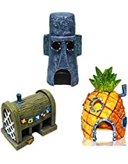 Mumoo Bear 3 PCS Small Aquarium SpongeBob Decoration Pineapple House Squidward Easter Island Fish Tank Spongebob Figures Decor