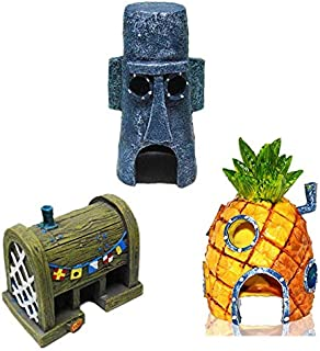 Mumoo Bear 3 PCS Small Aquarium SpongeBob Decoration Pineapple House Squidward Easter Island Fish Tank Spongebob Figures D...