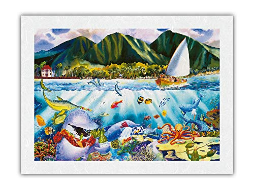 Dinner at Seven - Hawaiian Fish (Iʻa) Feast - Marine Life Sea Banquet - from an Original Hawaii Watercolor Painting by Peggy Chun - Premium Unryu Rice Paper Art Print 17 x 22 in