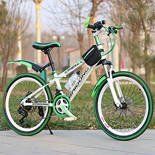 Pliuyb 21/24/27 Speed Mountain Bike 20/22/24/26inch Variable Speed Bicycle Front and Rear disc Brakes Multicolor Wheel Mountain Bike (Color : 27 Speed Green, Size : 20inch)