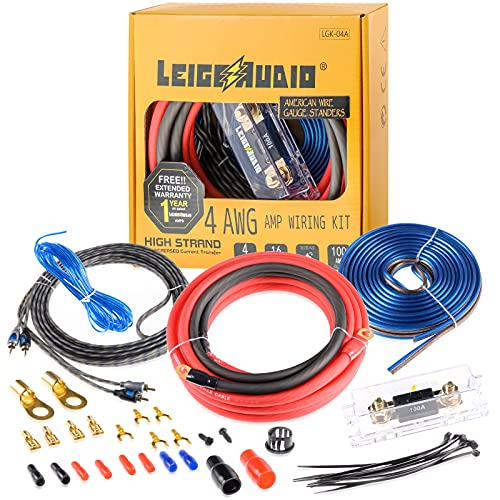 LEIGESAUDIO 4 Gauge Amp Wiring Kit Ture 4 AWG Amplifier Installation Wiring Kit - Car Subwoofer Wiring Kit Helps You Make Connections and Brings Power to Your Radio, Subwoofer and Speakers