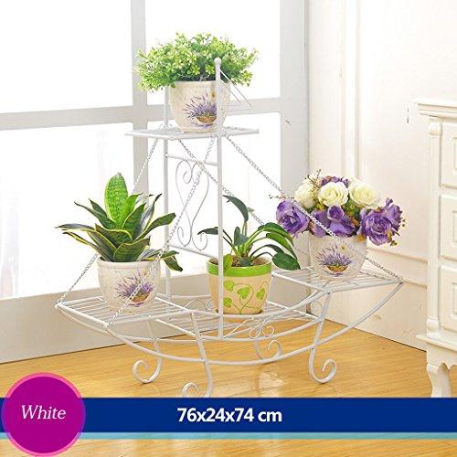 Escalier à fleurs en fer Canapé à fleurs Salon en plein air Balcon Porte-fleurs (76 * 24 * 74cm) (Couleur : Blanc)
