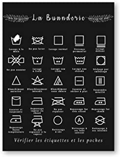 HYFBH Impression sur Toile français Symbole de blanchisserie Signe Noir et Blanc Affiche Murale Art Photo Toile Peinture b...