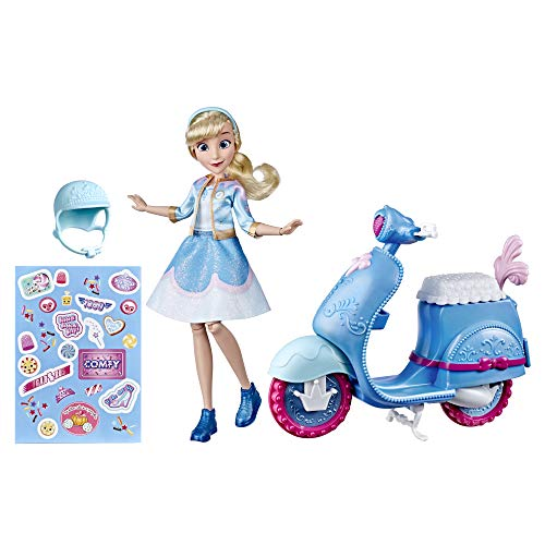 Disney Princess Comfy Squad Cinderella's Sweet Scooter, Fashion Doll with Scooter, Helmet, and Stickers, Toy for Girls 5 Years and Up