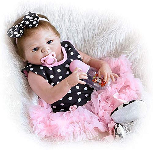 FMOGE 57Cm Reborn Baby Dolls Pink Wave Point Dress Sleeping Reborn Girl Dolls Realista Realista Suave Silicona Reborns Cute Dolls Baby Girl Imán Chupete