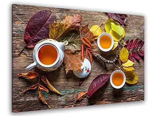 Hexoa - Cuadro de cocina con hoja de té – Made in Francia – Cuadro de cristal acrílico – 100 x 60 cm