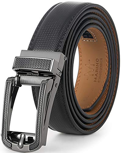 """Marino Avenue Mens Genuine Leather Ratchet Dress Belt with Open Linxx Leather Buckle, Enclosed in an Elegant Gift Box - Interknit Linxx - Deep Charcoal - Adjustable from 28"""" to 44"""" Waist"""