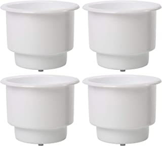 DasMarine (Set of 4 White Recessed Plastic Cup Drink Can Holder with Drain for Boat Truck Car and More (White, 4 Pack)