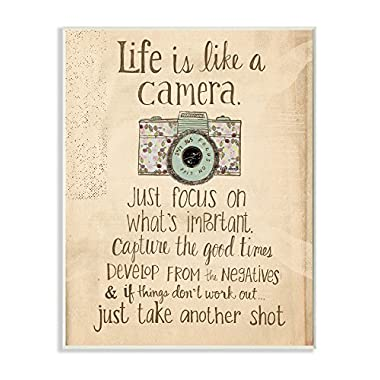 Stupell Home Décor Life Is Like A Camera Inspirational Art Wall Plaque, 10 x 0.5 x 15, Proudly Made in USA