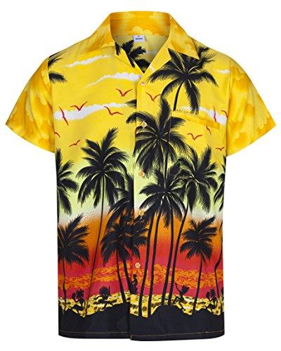Redstar Fancy Dress - Camisa Hawaiana de Manga Corta - para Hombre - Palmeras - Todas Las Tallas - Amarillo - L
